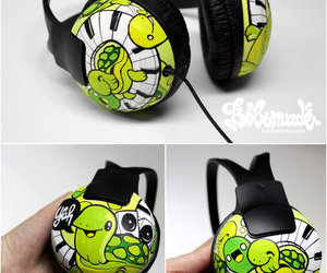 headphones, turtle, and cute image