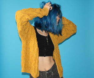 girl, grunge, and blue hair image