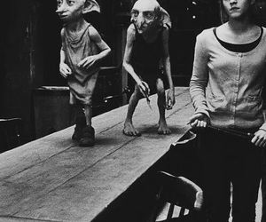 harry potter, dobby, and black and white image