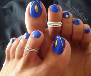 black and white, blue, and nails image
