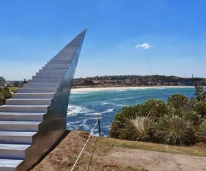 beach, heaven, and stairway image