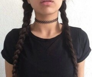 black, braid, and hair image