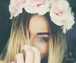 flowers, girl, and eyes image