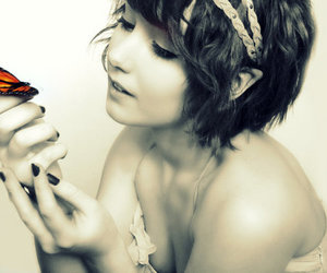 beautiful, brunette, and butterfly image