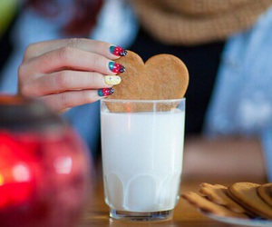 milk, cookie, and heart image