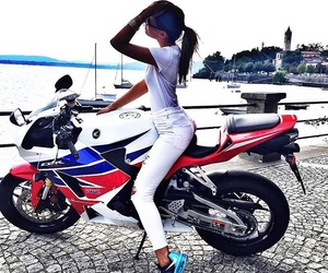 girl, hair, and moto image
