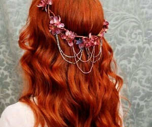 hair, flowers, and red image