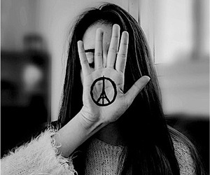 hand, peace, and pray for paris image