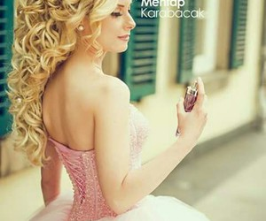 coiffure, dress, and pink image