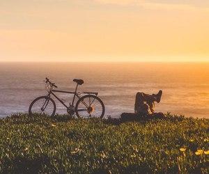 bike, sea, and sunset image