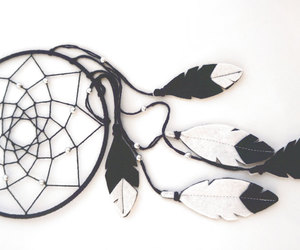 black white, dream catcher, and etsy image