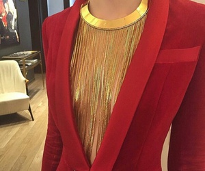 fashion, red, and gold image