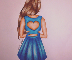 draw, girl, and blue image