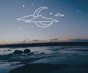 background, moon, and beach image