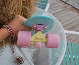 penny, penny board, and skate image