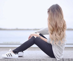 hair, adidas, and style image