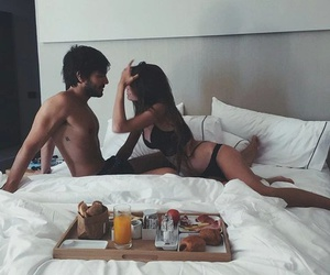 love, couple, and breakfast image