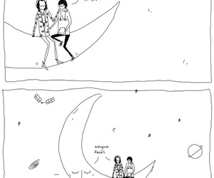 couple, moon, and drawing image