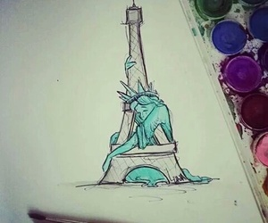 pray for paris and torre eiffel image