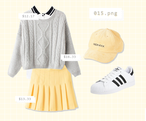 outfit, skirt, and yellow image