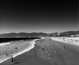 beach, california, and black and white image