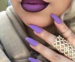 nails, purple, and lipstick image