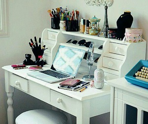 room, desk, and makeup image