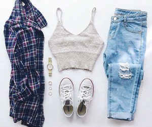 jeans, converse, and outfit image