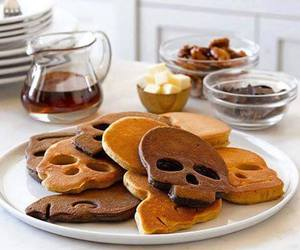 skull, food, and pancakes image