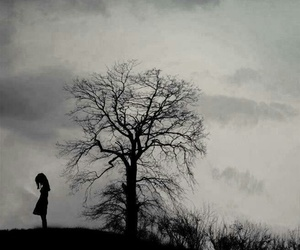 girl, tree, and sad image