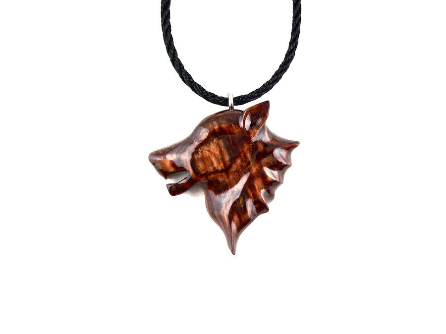 Mens Wolf Necklace Wolf Pendant Wolf Necklace Wooden Wolf