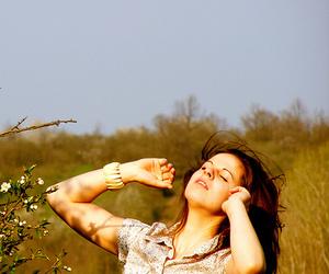 beautiful, field, and woman image