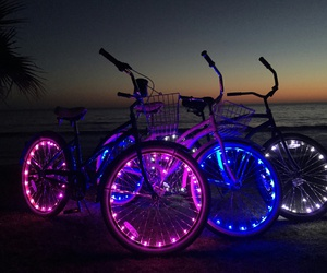 bikes, lights, and neon image
