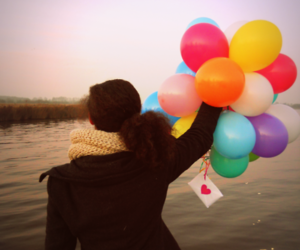 Letter, balloons colours sweet, and love image