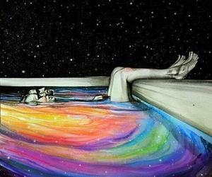 stars, art, and rainbow image