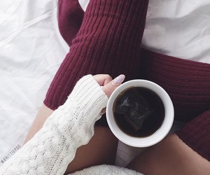 bed, coffee, and food image