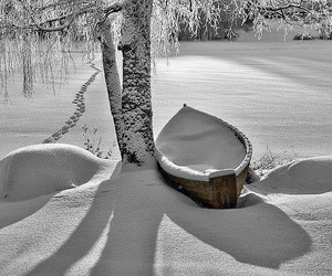 snow, winter, and boat image