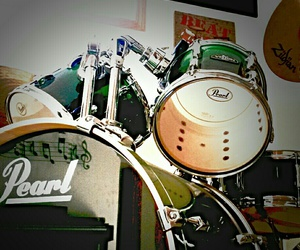 drum set, drums, and music image