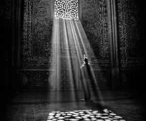 light, black and white, and art image