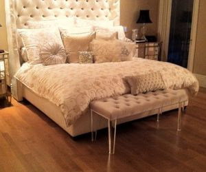 bed, home, and luxury image