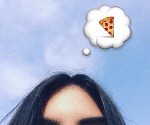 girl, pizza, and brunette image