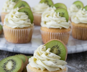 kiwi, cupcakes, and sweet image