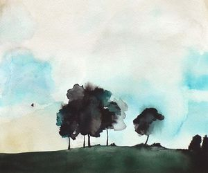 nature, trees, and watercolor art image