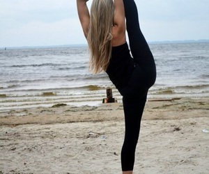 beach, fit, and yoga image