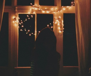 girl, lights, and window image