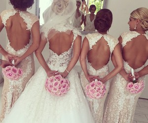 backless, bride, and bridesmaids image