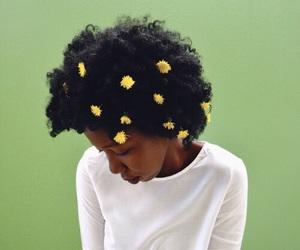 flowers, hair, and green image