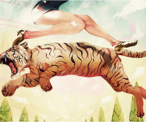 illustration, leap, and tiger image