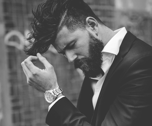 beard and black and white image