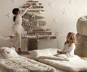 christmas, girls, and tree image